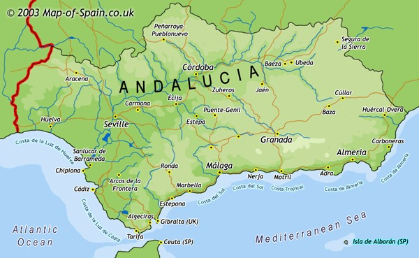 Detailed Map Of Southern Spain.Map Of Andalucia Spain Map Of Andalusia Spain