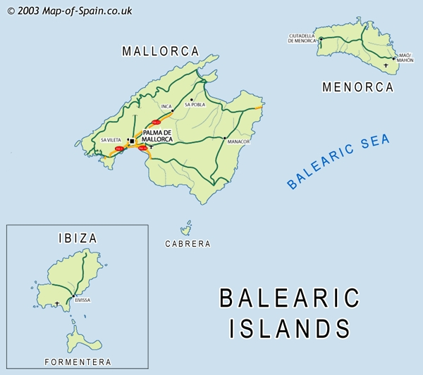 Map of the Balearic Islands Majorca Minorca Ibiza Map Baleares map