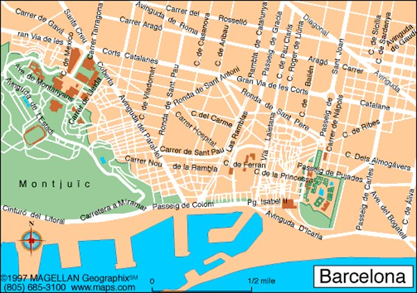 Barcelona In Spain Map.Map Of Barcelona Spain