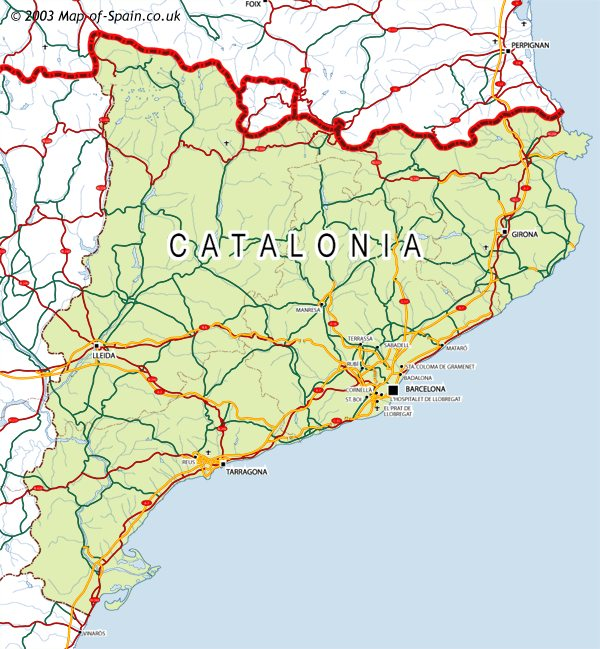 Catalan Map Of Spain.Map Of Catalonia Map Catalunya Map