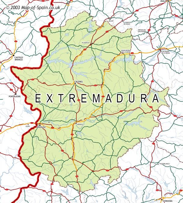 Map of Extremadura