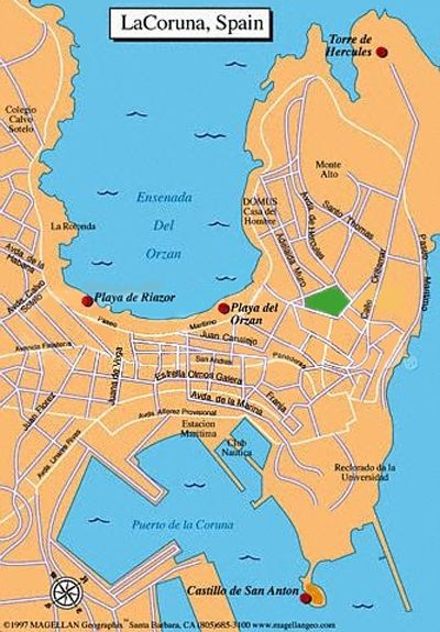 La Coruna Spain  city photo : Coruna Spain Map Map of la Coruna