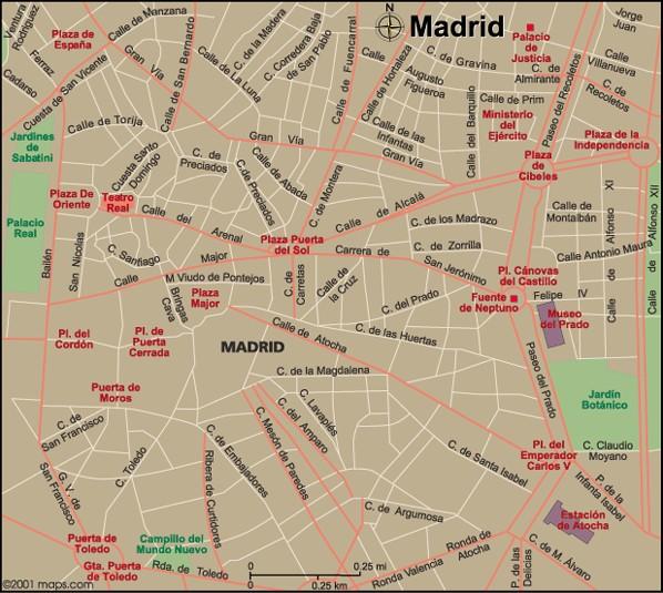 Map of Madrid, Spain