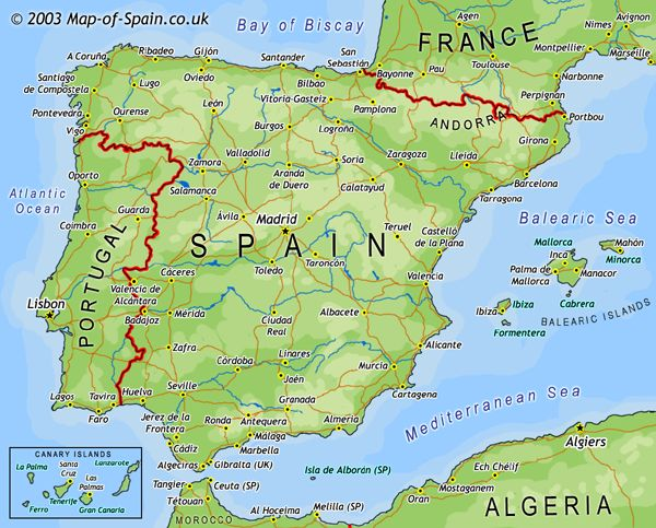 Road map of spain Street map of spain
