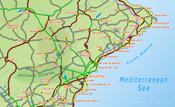 North Of Spain Map.Map Of The Costa Blanca Map