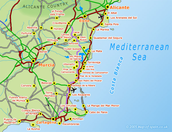 map of the Costa Blanca -South
