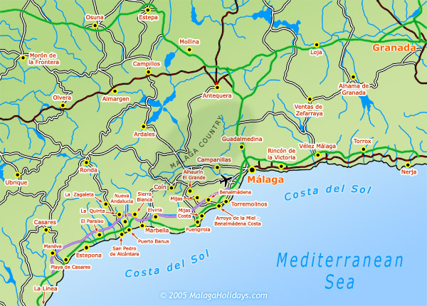 costa del sol airports map Map Of The Costa Del Sol costa del sol airports map