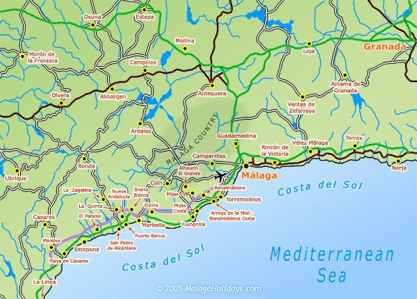 Costa Del Sol Map COSTA DEL SOL SPAIN MAP   Imsa Kolese Costa Del Sol Map