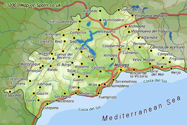 Map of Malaga region Map Of Malaga Spain Area on costa del sol map, venice italy area map, cities in spain malaga map,