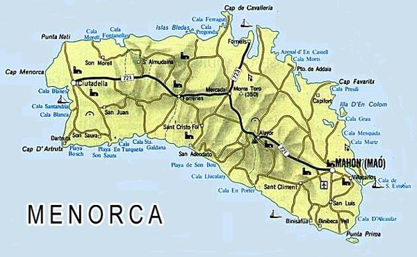 Map Of Menorca Map of Menorca / Minorca map Map Of Menorca