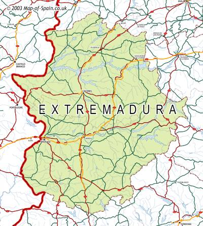 Map Of Spain Extremadura.Map Of Extremadura Maps