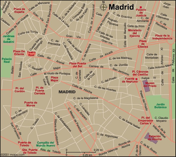 Map Of Spain With Madrid.Map Of Madrid Spain
